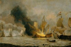 The Burning of the 'Royal James' | Willem van de Velde the Younger | Oil Painting