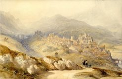 Plasencia: Distant View of the Fortified City | David Roberts | Oil Painting