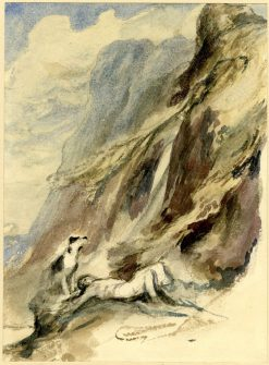 Sketch for a picture; a Man lying Dead at the Foot of a Precipice | David Wilkie | Oil Painting