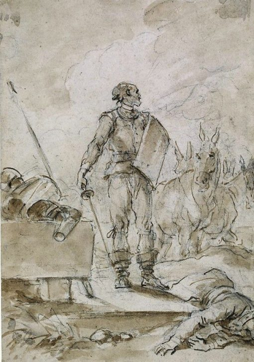Don Quixote standing over a carrier | Jean HonorE Fragonard | Oil Painting