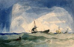 A Dismasted Brig; Rough Sea with Ship in Distress | John Sell Cotman | Oil Painting