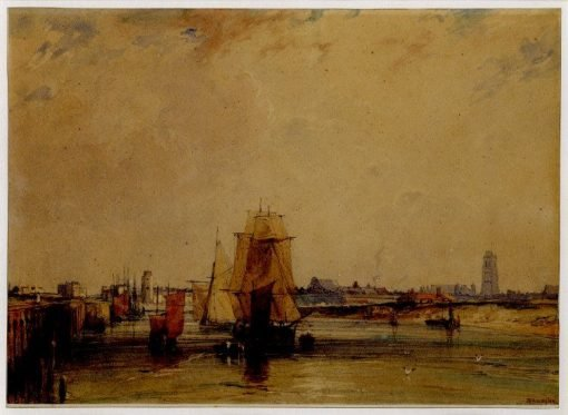 View of the Harbour at Dunkirk | Richard Parkes Bonington | Oil Painting
