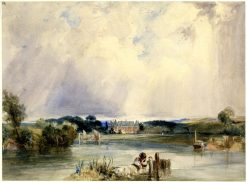 River scene - the Chateau of the Duchesse de Berry at Rosny | Richard Parkes Bonington | Oil Painting