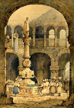 Courtyard and fountain in Ulm | Samuel Prout | Oil Painting