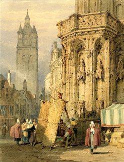 Ghent - St Bavon from near the Hotel de Ville   Samuel Prout   Oil Painting