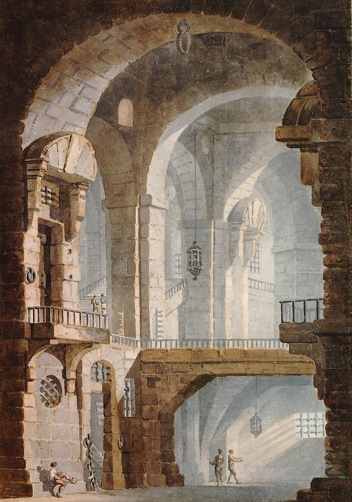 A Tall Vaulted Space (after Piranesi)   Thomas Girtin   Oil Painting