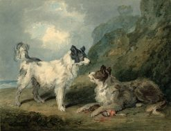 Dogs hesitating about the Pluck (after George Morland) | Thomas Girtin | Oil Painting