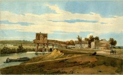 Water-mill above the Bridge at Charenton | Thomas Girtin | Oil Painting