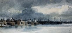 The Thames from Queenhithe to London Bridge   Thomas Girtin   Oil Painting