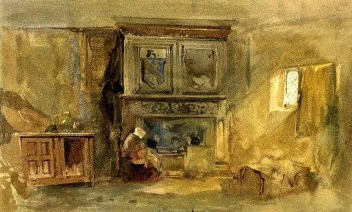 Tudor interior with woman seated by fire | William James Muller | Oil Painting