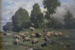 Peasant Woman Minding Her Sheep | Charles Emile Jacque | Oil Painting