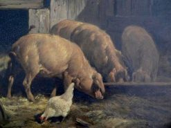 Pigs Feeding | Charles Emile Jacque | Oil Painting