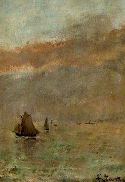 Fishing Boats at Dusk | Alfred Emile LEopold Stevens | Oil Painting