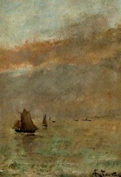 Fishing Boats at Dusk   Alfred Emile LEopold Stevens   Oil Painting