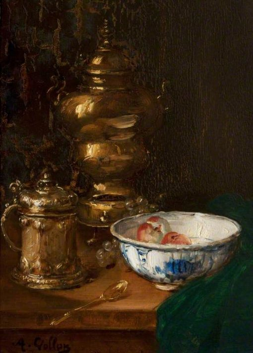 A Bowl of Fruit and Silver on a Table | Antoine Vollon | Oil Painting