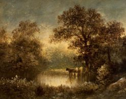 Cattle at a Woodland Pond | Jules DuprE | Oil Painting