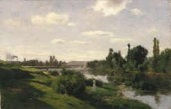River Scene at Mantes | Charles Francois Daubigny | Oil Painting