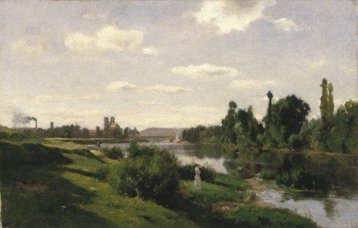 River Scene at Mantes   Charles Francois Daubigny   Oil Painting