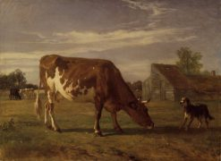 Cow in an Enclosure; a Dog Barking at Her | Constant Troyon | Oil Painting
