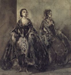Deux femmes   Constantin Guys   Oil Painting