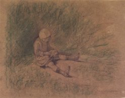 Girl Seated in the Grass (Petite fille assise) | Jules Bastien Lepage | Oil Painting
