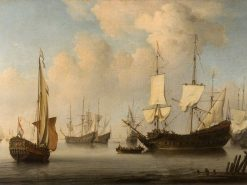 The Eendracht and other Dutch Men-of-War in a Breeze | Willem van de Velde the Younger | Oil Painting