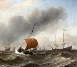 Dutch Shipping in a Heavy Swell | Willem van de Velde the Younger | Oil Painting