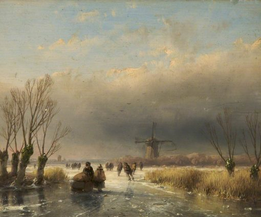 Figures on a Frozen River | Andreas Schelfhout | Oil Painting