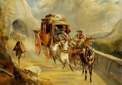 A Coach Scene on a Mountain Road | Charles Cooper Henderson | Oil Painting