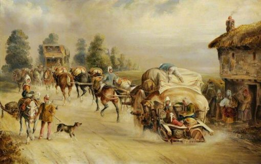 Laden Horse-Drawn Wagons on the Road | Charles Cooper Henderson | Oil Painting