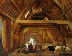 A Barn Interior with a Woman Preparing Food | Cornelis Saftleven | Oil Painting