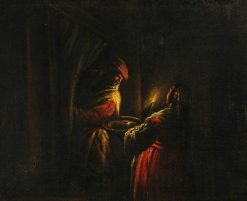 Figures in a Candelit Interior | Francesco Bassano the Younger | Oil Painting