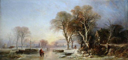 A Winter Landscape at Sunset with Figures on a Frozen River | William James Muller | Oil Painting