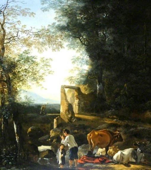 Landscape with Cattle and Figures | Adam Pynacker | Oil Painting