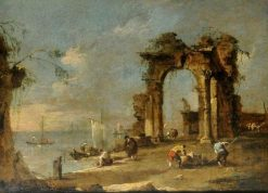 Capriccio with a Ruined Archway by the Banks of a Lagoon | Francesco Guardi | Oil Painting