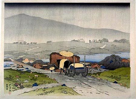 Rain at Yabakei   Goyo? Hashiguchi   Oil Painting