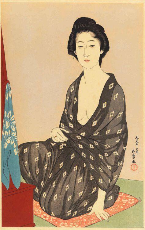 Woman in Summer Kimono(also known as Natsui no onna)   Goyo? Hashiguchi   Oil Painting