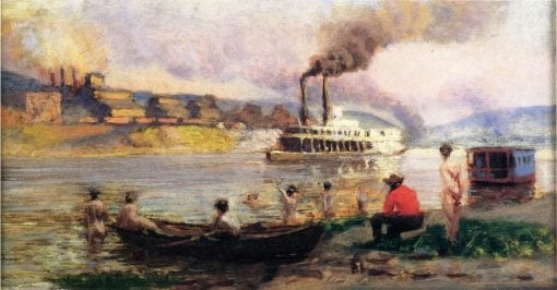 Study for Steamboat on the Ohio   Thomas P. Anshutz   Oil Painting