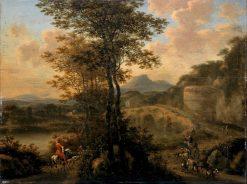 Italian River Landscape with Stone Bridge | Willem de Heusch | Oil Painting