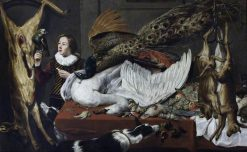 Game Larder Still Life: Hung Games with a Swan and Peacock on a Table | Frans Snyders | Oil Painting