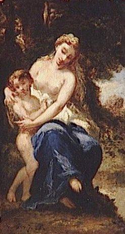 A Nymph Caressing Love   Narcisse Dìaz de la Peña   Oil Painting