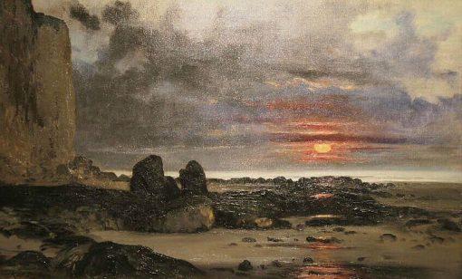 Falaises au soleil couchant (Cliffs at Sunset) | Karl Pierre Daubigny | Oil Painting