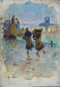 Two Girls Carrying Fish | LEon Jules Lemaitre | Oil Painting