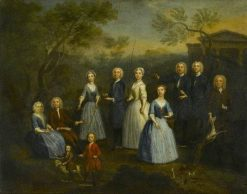 The Russell and Revett Families with Fishing Rods and Game   Charles Philips   Oil Painting
