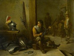 Soldier Cleaning a Flintlock in a Guardroom with Soldiers Beyond | David Teniers II | Oil Painting