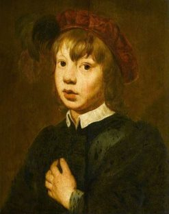 A Young Boy Wearing a Red Beret with Feathers | Dutch School th Century   Unknown | Oil Painting