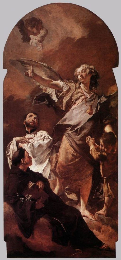 The Guardian Angel with Saints Anthony of Padua and Gaetano Thiene | Giovanni Battista Piazzetta | Oil Painting