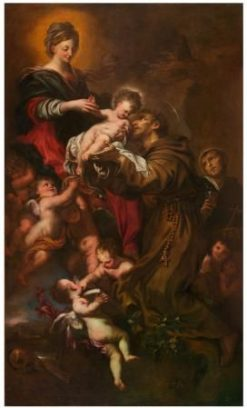 Madonna and Child Adored by Saint Francis of Assisi | Domenico Piola | Oil Painting