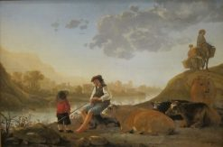River Landscape with Bagpipe Player | Aelbert Cuyp | Oil Painting