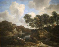 River Landscape with a Castle | Jacob van Ruisdael | Oil Painting